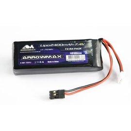 Arrowmax AM-700912 AM Lipo 2400mAh 2S TX/RX 7.4V Flat Pack