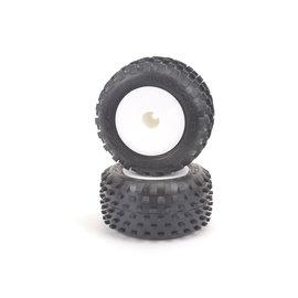Schumacher U6877  Yellow Stagger Rib Truck Tires Premounted on White Dish (2)
