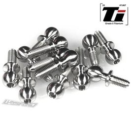 Lunsford LNS7710  5.5mm Broached Titanium Ball Stud Kit for Team Associated RC10B6.2 / RC10B6.2D (12pcs)