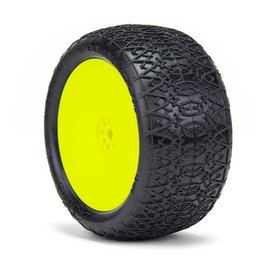AKA Racing AKA13126VRY  1/10 Buggy Chainlink Rear 2.2 (Super Soft) on Yellow Wheels