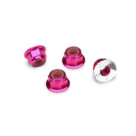 Traxxas TRA1747P  4mm Pink Alum Flanged Locking Serrated Nuts (4) TRX4 Rustler Slash Stampede
