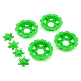 "J Concepts JCO2668-5  Green ""Tracker"" Monster Truck Wheel Mock Beadlock Rings (4)"