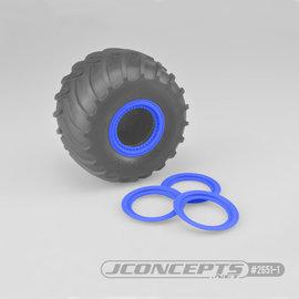 J Concepts JCO2651-1  Blue Tribute Wheel Mock Beadlock Rings, Glue-on-Set (4pcs)