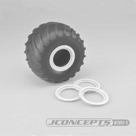 J Concepts JCO2651-3  White Tribute Wheel Mock Beadlock Rings, Glue-on-Set (4pcs)