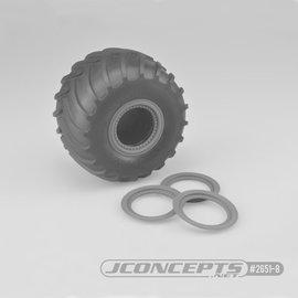 J Concepts JCO2651-8  Silver Tribute Wheel Mock Beadlock Rings, Glue-on-Set (4pcs)
