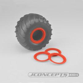 J Concepts JCO2651-6  Orange Tribute Wheel Mock Beadlock Rings, Glue-on-Set (4pcs)