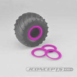 J Concepts JCO2651-4  Pink Tribute Wheel Mock Beadlock Rings, Glue-on-Set (4pcs)
