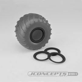 J Concepts JCO2651-2  Black Tribute Wheel Mock Beadlock Rings, Glue-on-Set (4pcs)