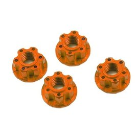 Yeah Racing YEA-YA-0448OR  Orange Aluminum 4mm Serrated Wheel Lock Nuts (4)