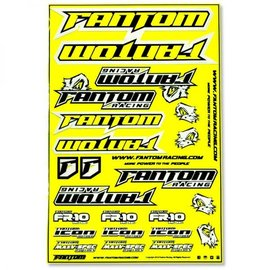 Fantom Racing FAN70164  Fluorescent Yellow Vinyl Team Sticker Sheet
