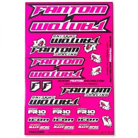 Fantom Racing FAN70165  Fluorescent Pink Vinyl Team Sticker Sheet