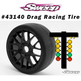 SWEEP SWP4314015  Sweep FAST GT2 Drag Racing-Speed runs BELTED preglued on White EVO16 Wheel option tires set 17mm (2)
