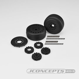 J Concepts JCO3113-39  Black Speed Fangs - Belted, Pre-mounted on Cheetah Wheels - 3113-39