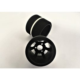 Gravity RC LLC GRC141R  G-Spec 12th scale (Carpet or Asphalt) Nylon 6spoke wheel, Black (Pair Rear)