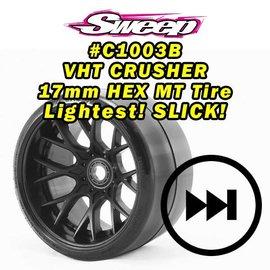 SWEEP C1003B  MT VHT Crusher Belted tire preglued on WHD Black wheel (2)