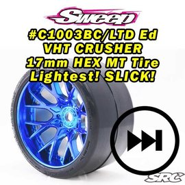 SWEEP C1003BC  MT VHT Crusher Belted tire preglued on WHD Blue Chrome wheel (2)