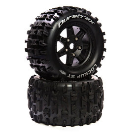 "Duratrax DTXC5614  Lockup ST Belt 3.8"" Mounted Front/Rear Tires 0 Offset 17mm, Black (2)"
