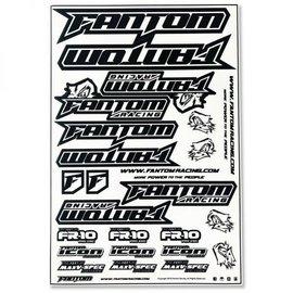 Fantom Racing FAN70163  Vinyl Die-Cut Team Sticker Sheet – Black/White