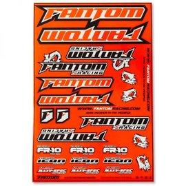 Fantom Racing FAN70166  Vinyl Die-Cut Team Sticker Sheet – Flo Orange