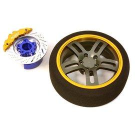 Integy C26907GOLD   Gold Billet Machined Alloy D5 Spoke Steering Wheel Set for Traxxas Radio