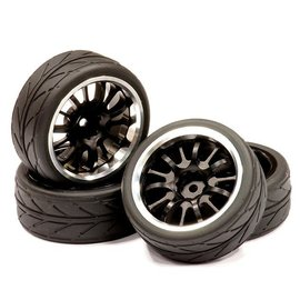 Integy C23821BLACKSILVER  Silver 14 Spoke Realistic Alloy Wheel, Insert & Tire (4)