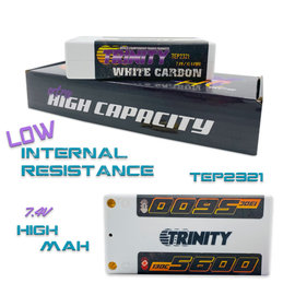 Trinity TEP2321  White Carbon 2S 7.4v 5600mAh 130C Shorty LiPo w/ 5mm Bullets