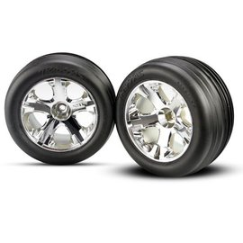 Traxxas TRA3771 2.8 Alias Electric Ribbed Front Tires on All Star Chrome Wheels (2)