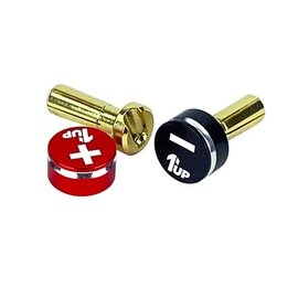 1UP Racing 1UP190431  4mm Black & Red LowPro Bullet Plugs & Grips