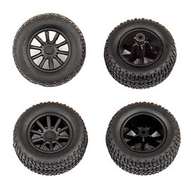 Team Associated ASC21426  SC28 Mounted Front and Rear Wheels and Tires