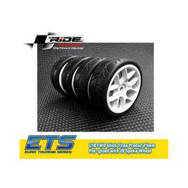 Ride RI-26072  Ride 1/10 Slick Tyres Precut 24mm 10 Spoke Wheel
