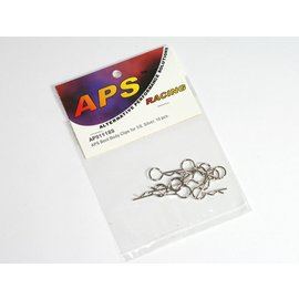 APS Racing APS91118SV2  APS Bent Body Clips Large Silver (10)