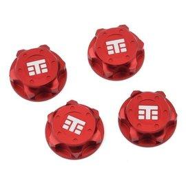 "Tekno RC TKR5116BR  17mm Aluminum ""T Logo"" Covered Serrated Wheel Nut (Red) (4)"