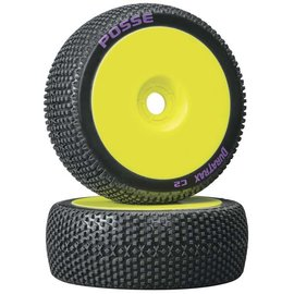 Duratrax DTXC3632  Yellow Posse 1/8 C2 Mounted Buggy Tires (2)