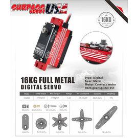 Surpass Hobby USA S1600M  Digital Servo 16KG/222oz .08/7.4v  Low Profile Full Metal