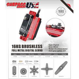 Surpass Hobby USA S1600BL  Digital Brushless Servo 16KG/222oz .07/7.4v  Low Profile Full Metal