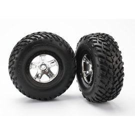 Traxxas TRA5873X  Satin Chrome Beadlock SCT Tires & Wheels (2)