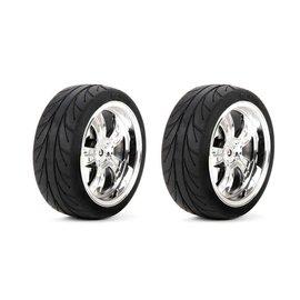 TLR / Team Losi LOS43038  Mounted FR 5-Spoke Wheel Tire 54x26mm Chrome (2)