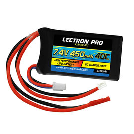 Lectron Pro 2S450-40J  Lectron Pro 2S 7.4v 450mAh 40C LiPo w/ JST Plug : SCX24