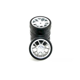 Ride RI-26073  Ride 1/10 Belted Tyres Preglued on Silver Wheel (4)