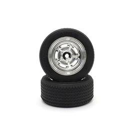 Kyosho KYOFATH703SMM  Vintage TC Tire Chrome Plated Rostyle Wheels (2)