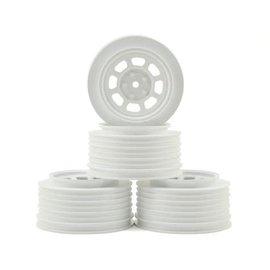 DE Racing DERDS4AW  DE Racing Speedway SC Dirt Oval Wheels (White) (4) (+3mm Offset/29mm Backspace) (SC10/SC5M) w/12mm Hex
