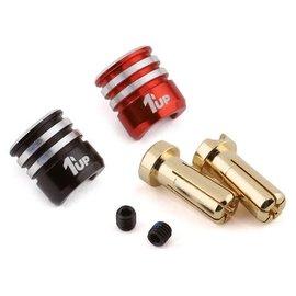 1UP Racing 1UP190436  5mm Bullet Plugs w/ Black & Red Heatsink Grips