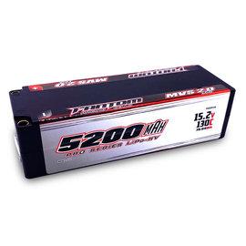 Fantom Racing FAN25144  Fantom 4S 15.2v 5200mAh 130C LCG Shorty LiPo w/ 5mm Bullets