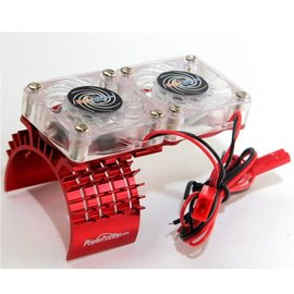 Michaels RC Hobbies Products PHBFSRED Red Aluminum Motor Heatsink & Twin Cooling Fan