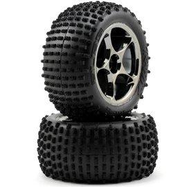 Traxxas TRA2470A Alias Tires W/Tracer Black Chrome Wheels 2.2 Bandit Rear (2)