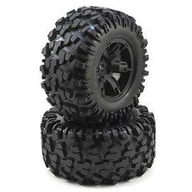 Traxxas TRA7772X  X-Maxx AT Tires & Black Wheels (2)