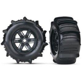 Traxxas TRA7773 Tires & wheels, assembled, glued (X-Maxx black wheels, paddle tires, foam inserts) (left & right) (2)