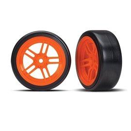 Traxxas TRA8376A Tires and wheels, assembled, glued (split-spoke orange wheels, 1.9' Drift tires) (front)