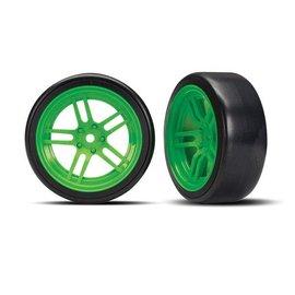 Traxxas TRA8376G Tires and wheels, assembled, glued (split-spoke green wheels, 1.9' Drift tires) (front)