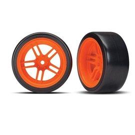 "Traxxas TRA8377A Tires and wheels, assembled, glued (split-spoke orange wheels, 1.9"" Drift tires) (rear)"